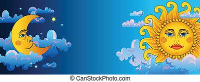Sun and moon on dark sky. Horizontal blue banner.