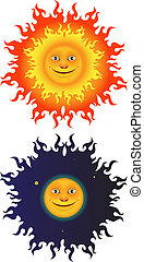 Sun And Moon (Set) - Fairytale illustration for the needs of...