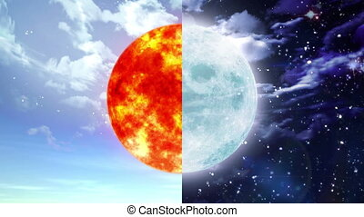 Sun and moon - sun and moon of day and night seperate screen...