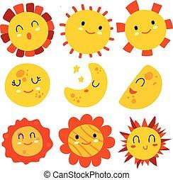 Sun earth moon emoji vector design collection  Sun earth