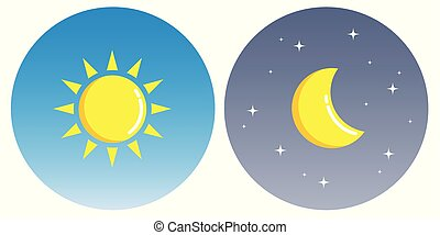 sun and moon with clouds in circle day and night concept