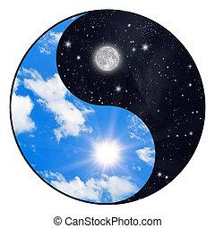 Sun and moon - Yin Yang symbol - sun and moon