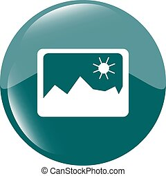 Sun and mountain sign on web icon, web button isolated on white vector illustration