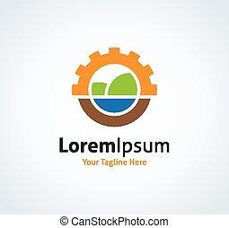 Sun and nature landscape project vector logo icon