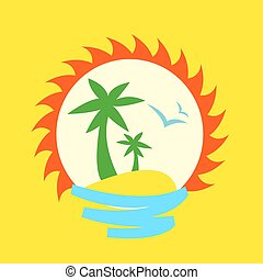 sun and palm tree on seaside vector
