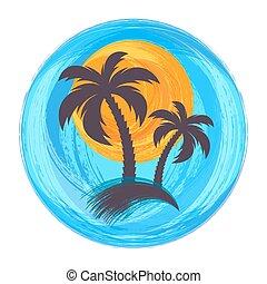 Sun and palm trees illustration