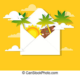 sun and palm trees in the mail