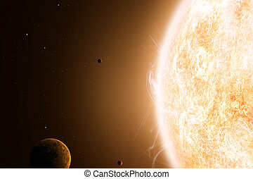 Sun and Planets - imaginary illustration of sun and planets...