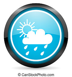 sun and rain blue glossy circle icon on white background