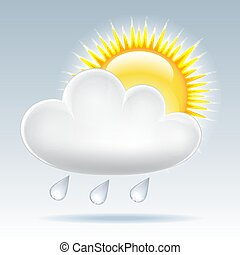 Sun and raining clouds weather web icon. Vector