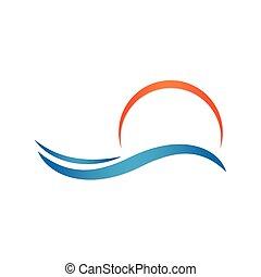 Sun and sea. Summer vector - Sun and sea background logo...