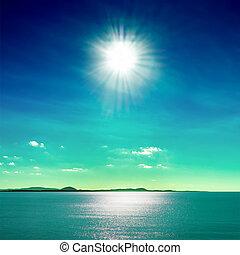 Sun and Sea - Sun reflected on the sea, Punta del Este Beach...