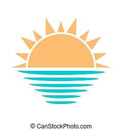 Sun and sea symbol. Vector illustration