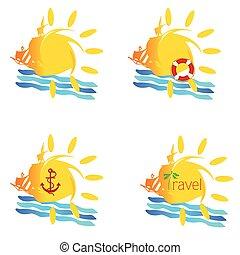 sun and sea to summer illustration