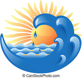 Sun and Sea - Vector illustration of a sea wave and sun...