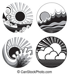 sun and sea waves. Vector black white graphic icons of...