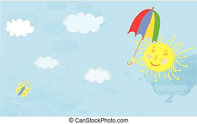 Sun and sky funny banner for kids
