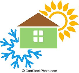 Sun and snowflake air conditioning design