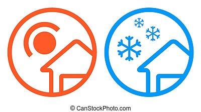 sun and snowflake icon set