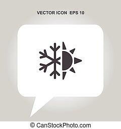 sun and snowflake vector icon