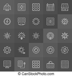 Sun and solar panel icons
