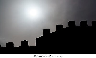 Sun and walls - High contrast scene of sun and walls