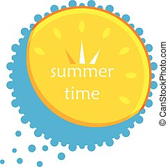 sun and water in the form of a clock. Icon. vector