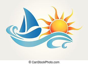Sun and waves boat logo vector