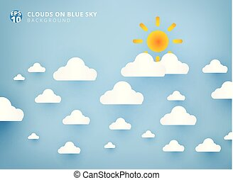 Sun and white clouds on pastel blue sky background design paper art and handicraft with copy space.