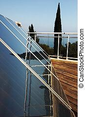 sun battery   - sun battery on blue sky background