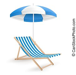 Sun beach umbrella with beach chair isolated on white...