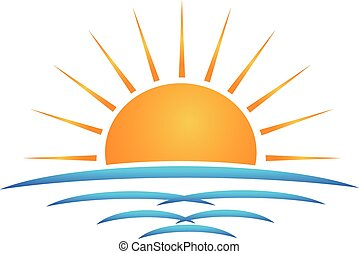 Sun beach waves logo