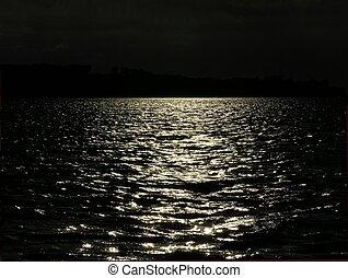 setting sun - Sun beam from the setting sun in black and...