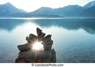 sun beam on a stone door