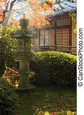 Sun Beams over Japanese Stone Lantern