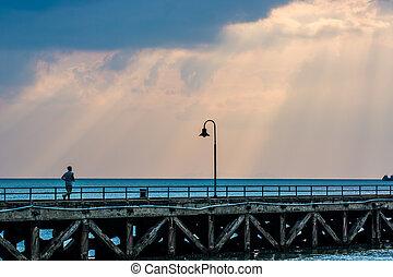 Crepuscular rays - Sun beams seascape. Crepuscular rays, Ko...