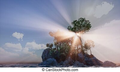 Sun beams through Trees at rocky island in ocean at sunset