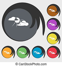 sun behind cloud sign icon. Symbols on eight colored buttons. Vector