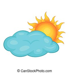 Sun behind clouds icon, cartoon style