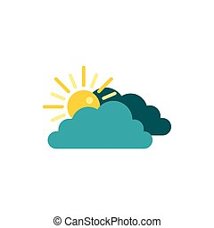 Sun behind clouds icon, flat style