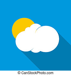 Sun behind the cloud icon, flat style