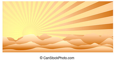 Vector sunrise over the mountainous terrain, made in warm colors