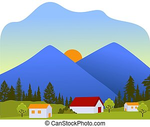 Sun between mountains house village landscape in morning background of green meadow tree with flat cartoon style