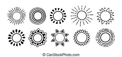 Sun black icon doodle set sunbeams cartoon vector