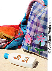 sun block 2 - beach bag and beach items and sun block