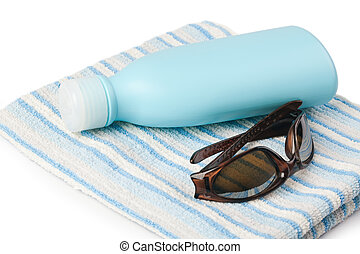 sun block with a towel