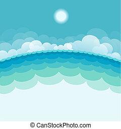 sun., blue háttér, tenger, ábra, vektor, kilátás a tengerre, természet