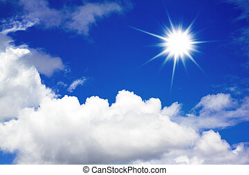 sun, blue sky - White clouds and sun in a blue sky. Sky ...