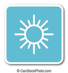 sun blue square internet flat design icon