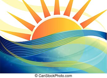 Sun blue waves background